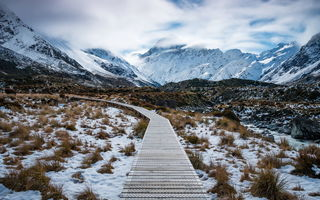 Обои Path to Aoraki, Mount Cook, New Zealand, Aoraki Mount Cook National Park