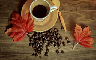 Картинка cup, книга, beans, осень, leaves, кофе, coffee, autumn, чашка