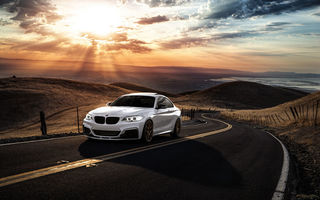 Обои Car, Sunrise, Mountains, BMW, M235i, Road, Avant, Front, San Jose, Sunset, Wheels, Garde