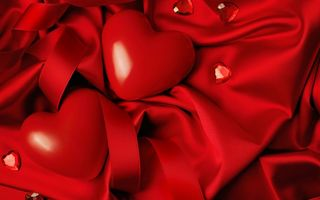 Обои silk, Valentine's Day, heart, red, любовь, сердце, love, romantic