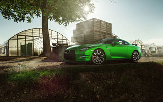 Обои Car, Front, GT-R, Green, Beauty, Sport, Nissan, Nature