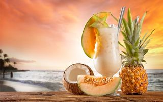 Обои fruit, фрукты, drink, fresh, paradise, пляж, beach, sea, коктейль, tropical, summer, cocktail, море