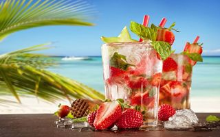 Обои strawberry, коктейль, мохито, summer, море, drink, cocktail, paradise, пляж, fresh, клубника, mojito, tropical, beach, sea