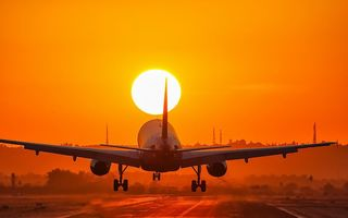 Картинка Aircraft, sunset, landing