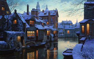 Обои Twilight in Brugge, лодки, boats, Евгений Лушпин, зима, houses, Лушпин, сумерки, Брюгге, Belgium, живопись, painting, снег, дома, lights, snow, twilight, Сумерки в Брюгге, river, Eugeny Lushpin, winter, река, Brugge, Бельгия