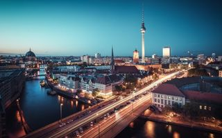 Картинка lights, traffic, dusk, Germany, bridge, Berlin, night, urban scene, river, blue hour, cityscape, twilight, Fernsehturm