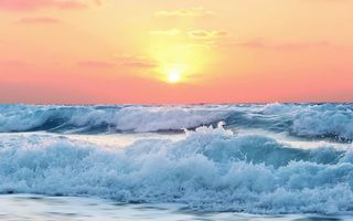 Обои ocean, waves, seascape, sea, wind, beach, seaside, foam, dusk, sunrise, morning