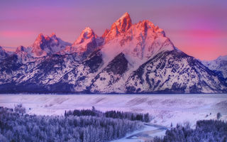 Обои alpenglow on grand teton - snake river overlook, wyoming, горы, grand teton national park, зима, снег, национальный парк