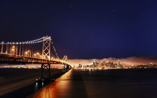 Обои San Francisco, California, beesting bridge, огни, город, USА, мост, река, пролив