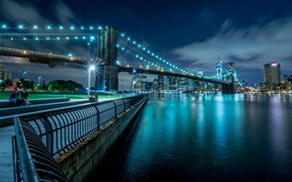 Обои new york city, панорама, вечер, Нью-Йорк, огни, мост, парк