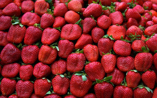 Картинка strawberries, pattern, fruit, red, green, leaves