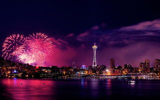 Картинка ночь, Seattle, July 4, город, феерверк, огни, панорамма
