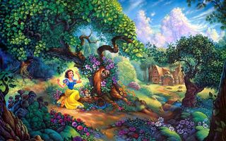 Картинка цветы, Snow Whites, painting, cartoon, Tom duBois, домик, Snow Whites Magical Forest, forest, Walt Disney