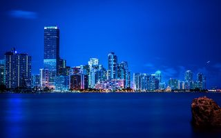 Обои Майами, панорама, vice city, Miami, florida, Флорида, ночь, огни