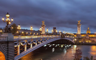 Обои france, Seine River, огни, город, ночь, Франция, the the Romantic City, мост Александра III мост, красивый, пейзаж, buildings, романтический город, beautiful, nights, landscape, city, Париж, paris, Pont Alexandre III bridge, lights, река Сена