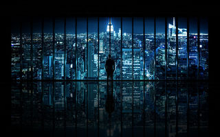 Картинка The Dark Knight, Window to Gotham City, вид, ночь, город, New York City, окно, мужчина,