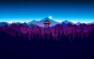 Картинка Firewatch, kumo, forest, sunset artwork, sky, game, night, cloud, moon