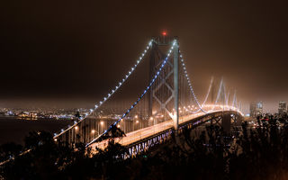 Картинка San Francisco, CA, Калифорния, Сан-Франциско, USA, мост, bridge, осень, залив, light, fall, bay, California, night, темный, ночь, autumn, Francisco, США, sky, dark, San, огни, lights, небо