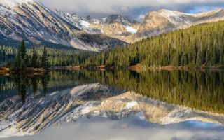 Обои Long Lake, горы, Колорадо, Indian Peaks Wilderness, озеро Лонг, Colorado, Apache Peak, Navajo Peak, отражение, лес