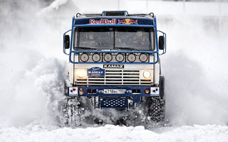 Картинка снег, Dakar, Камаз, зима, Чагин, Paris, Kamaz Master, Red Bull, Russia