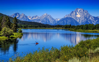 Обои Mount Moran, Гранд-Титон, Вайоминг, Гора Моран, Snake River, Grand Teton National Park, Wyoming, река Снейк