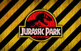 Обои logo, red, bones, yellow, jurassic park, black