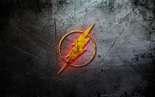 Обои flash, logo, metal