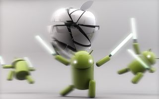 Картинка Lightsaber, White, Silver, Android, Apple, Green