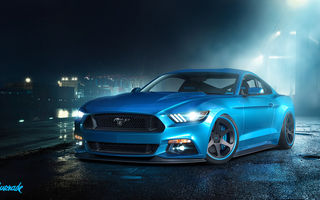 Обои Ford, перед, GT, мустанг, форд, мускул кар, синий, muscle car, by Gurnade, front, Mustang, blue