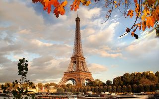 Картинка river, осень, France, Paris, autumn, Франция, Париж, Eiffel Tower, cityscape, leaves