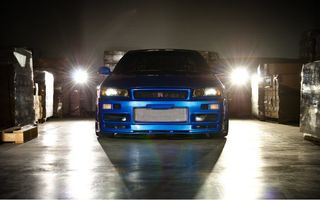 Обои Nissan, r34, skyline, машина, форсаж 4, ниссан, fast and furious, blue car, gt-r