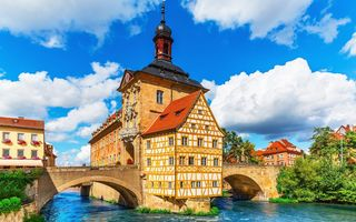 Обои City Hall, мост, Regnitz river, Bamberg, Германия, Бавария, ратуша, Бамберг, Bavaria, Germany, река Регниц
