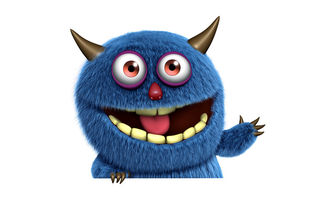 Обои 3d, fluffy, funny, face, monster, cute