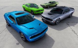 Картинка Dodge, Challenger, 1970, 2015, green, cars, and, grey, R/T, muscle, blue