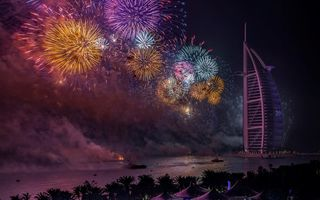 Картинка night, Dubai, UAE, New Year, fireworks