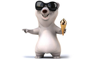 Обои 3d, funny, ice cream, white bear, медведь, character