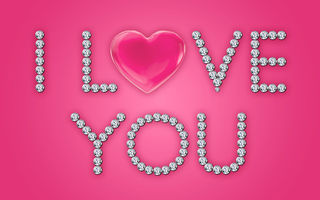 Картинка love, pink, heart, diamonds, design by Marika, brilliant, glamour, i love you