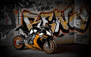 Обои ktm, rc8 r, supersport, мотоцикл, bike, стена, black, графитти, чёрный, супеспорт
