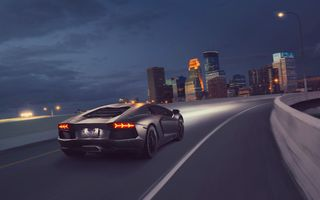 Обои Lamborghini, Speed, Black, Rear, Light, Aventador, LP700-4, Supercar