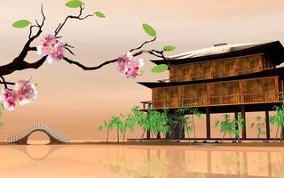 Обои Восточные пейзажи, Eastern landscapes, Сакура, дома на воде, 3D, house on the water, Sakura