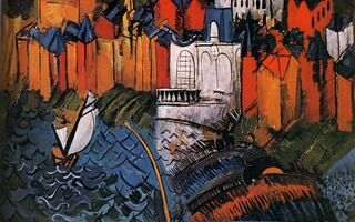 Картинка New York, Museum of Modern Art, Sailing ship With Sainte-Adresse, 1912, Voilier Е Sainte-Adresse, Huile sur Toile, Raoul Dufy