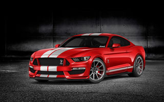 Обои Ford, мустанг, by Gurnade, Mustang, GT350, red, мускул кар, форд, рендеринг, muscle car, rendering, красный