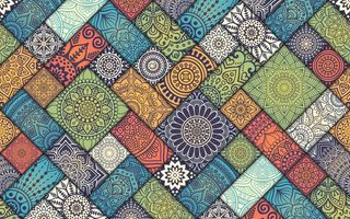 Обои Colorful, Vintage, diagonal, pattern, tiles, floral