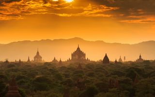 Картинка Myanmar, Burma, the lost town, sunset, forest, Бирма, закат, лес, старый город, temple, Мьянма, храм, architecture, palace, old, затерянный город, архитектура, дворец