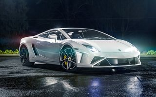 Картинка Lamborghini, Gallardo, 2013, White, LP560-4, Tuning by, Night, Light, North West Auto Salon, Supercar