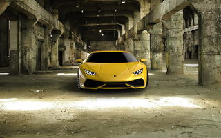 Обои Huracán, full face, yellow, Lamborghini