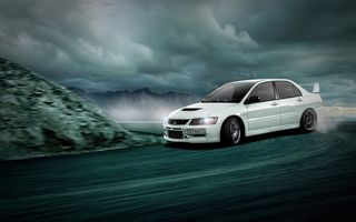 Обои Mitsubishi, Lancer, Drifting, Evolution 9, White, Skid