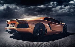 Обои Lamborghini, LP700-4, Alex Murtaza, orange, Aventador, rear, Shift-S3ctor