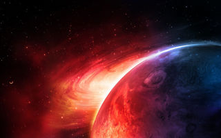 Обои sci fi, red, planet, blue
