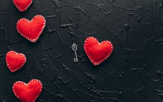 Обои любовь, gift, сердце, love, romantic, red, valentine's day, hearts, key